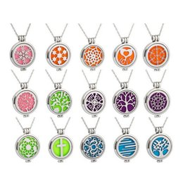 Wholesale Aroma Pendant Necklace Wholesale - hot sale 15 color fashion hollow aroma necklace stainless steel fragrance diffuser pendant J011