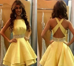 Wholesale Cross Back Cocktail Dress - 2017 New Arrival Yellow Cheap Homecoming Dress Vintage A Line Beaded Juniors Sweet 15 Graduation Cocktail Party Dress Plus Size Custom Made