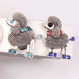 Wholesale Animal Rhinestone Bracelets - Wholesale 18MM 20MM Metal Rhinestone Dog Animal Ginger Snap Buttons Fit For Noosa Charms DIY Jewelry