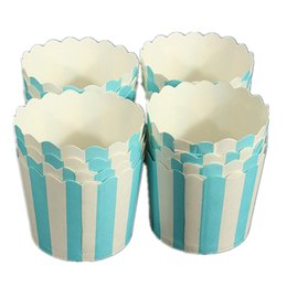 Tazas de muffins online-Superventas 50X Cupcake Paper Cake Case Copas para hornear Liner Muffin Postre para hornear Cup Blue White Striped