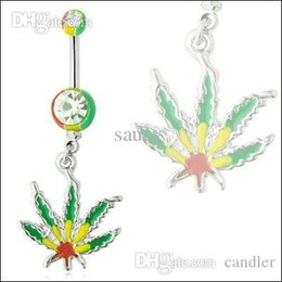Wholesale Pot Leaf Wholesale - Free shipping!Rasta Pot Leaf Jamaican Gem Belly Ring,Navel Ring, Body Piercing Jewelry,nice and new style