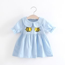 Wholesale Doll Dress Baby Girl - Fashion 2017 New baby Girls Dresses Cute Bee Printed Doll Dress Children Clothes Short Sleeve Girl Dress Blue Pink White A6794