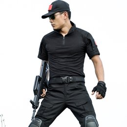 Wholesale Tactical Training Uniforms - Summer short sleeve training suit uniforms, black training clothes, short sleeve T-shirt and trousers combination, outdoor tactical suit
