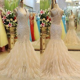 Wholesale Long Bridal Dress Jacket - Luxury Crystal Feather Mermaid Bridal Evening Dresses 2017 Champagne Beads Sequined Plus Size Vintage V Neck Formal Prom Party Dress