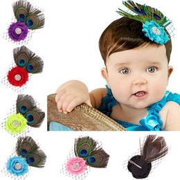 Wholesale Peacock Feather Hair Bands - Peacock Feather Baby Girls Hairbands Floral Headbands Barrettes Children Elastic Hair Bands Kids Hair Accessories Mesh Beret