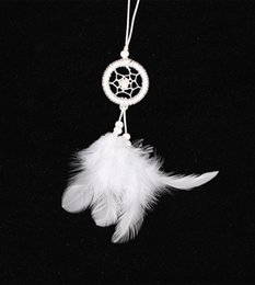 Wholesale Mobile Holidays - Wholesale-Indian Dream Catcher Car Decoration Party and Christmas Decorations White Feather Mobile and Key Chains Dreamcatchers