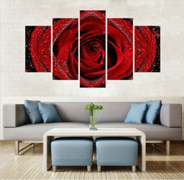 Wholesale Large Piece Artwork - Large size 5 piece home decor living room decor Wall Art Painting Artwork for printedEarth Rose Background canvas Painting art