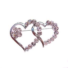 Wholesale Pin Diamante - Rhodium Silver Tone Clear Diamante Crystal Double Heart Small Pin Brooch