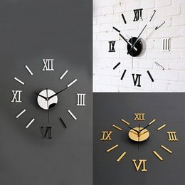 Wholesale Lit Wall Clock - Wholesale-3D Acrylic Mirror Surface Roman Numerals Wall Clock Stickers Home DIY Decor