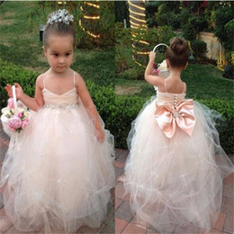 ball gown spaghetti straps wedding dress Canada - Brand New Flower Girl Dresses with Bow Spaghetti straps for Wedding Party Communion Pageant Dress Ball Gown Little Girls Kids Children Dress