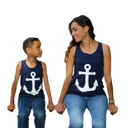 Wholesale Mother Son Clothes - Mom And Daughter T Shirt Mother Son Outfits Anchor Bow T-shirt For Family Matching Clothing 2017 New Sleeveless Mom Kids Baby Clothes Outfit