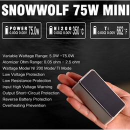 Original sigelei 75w mod on-line-100% original snowwolf mini 75 w mod lobo da neve 75 18650 bateria caixa tc mods vs sigelei 150 w além de 80 w vt75 nano pico resina