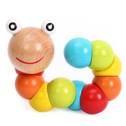 Wholesale Old Wooden - Wholesale-DIY Baby Kids Twist Caterpillar Wooden Toy Infant Educational Developmental Gift