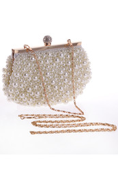 Wholesale Clutch Purse Wedding Party - 2017 Hot Cheap Crystal Pearls Bridal Bags with Chain Women Wedding Evening Prom Party Handbag Shoulder Bags Clutch Bags CPA960