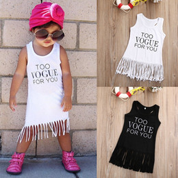 Wholesale Straight Knee Length Dresses - 2017 Fashion Children Summer Girls Tassel Cotton Dresses Baby Girl Sleeveless Fringe One-piece Sundress Kids Cute Princess Clothes