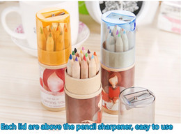 Wholesale Ship Pencil Sharpener - 2017 New Students With Leather Paper Loaded Color Pencil 12 Color 12 Color Pencil Drawing With a Pencil Sharpener Cover With Free Shipping