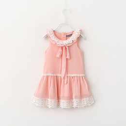 Wholesale Lolita Sweet - New Baby Girl Dress Summer Girl Chiffon Dress Sweet Lace Bow Top For 2~7 Y 6P L