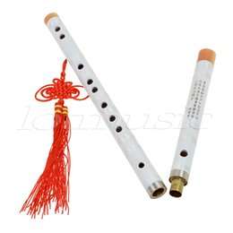Wholesale Kmise White Paint Traditional Chinese Bamboo Flute Dizi Pluggable F Key Musical Instrument