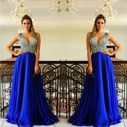 Wholesale Elegant Rhinestone Long Dresses - Graduation Dresses Long Royal Blue Prom Dress Chiffon Elegant Deep V Neck Floor Length A Line Rhinestone Prom Dresses Plus Size