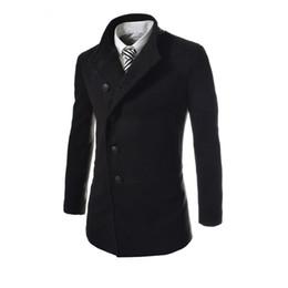 Wholesale long woolen coats - Winter Autumn Men Warm Slim Jackets Long Sleeve Single-breasted Outerwear Coats Wool Coat Gray Black Plus Size M-3XL
