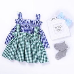 Wholesale Girls Tartan Dresses - INS Summer Tartan Plaid Girls Suspenders Tank Top Babies Girls Dress Fashion Infant Toddler Baby Clothes 2017 Kids Clothing Wholesale 613