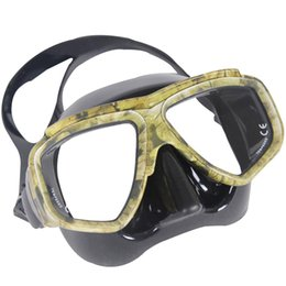 Wholesale Wholesale Dive Gear - Wholesale- Professional Disguise Camouflage Scuba Dive Mask Snorkeling Gear Spearfishing Swim Goggles Myopic Optical Lens New