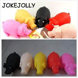 Wholesale Screams Pigs - Wholesale- Queaky Sound Rubber Screaming Pig Pet Squeak Toys For kids Play Relax Press Dolls Color Random 21*10CM WYQ