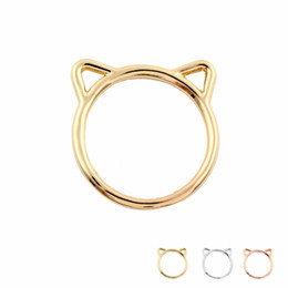 Wholesale Tibet Silver Jewellery - Cheap Price Fashion Accessories Jewellery Rings Lovely Kitty Cats Ear Rings for Women Wedding and Party Gifts Size 6.5 EFR067