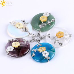 Wholesale Mother Pearl Flower Necklaces - CSJA Gemstone Raw Material Natural Stone Healing Crystal Quartz Hollow Round Charm Shell Flower Leaf Wrap Pendant for Necklace Making E687 A