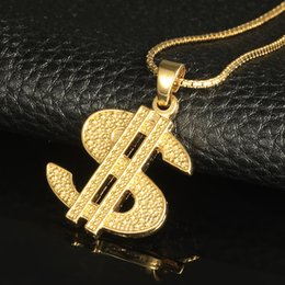 Wholesale Money Tins - Gold Color $ Money Symbol Pendant Hip Hop Bling Crystal Dollar Sign 76cm Gold Link Chain Pendant Necklace Men Women Jewelry