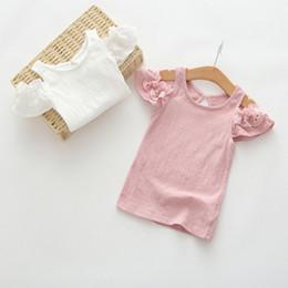 Wholesale Girls Braces - Girls Shirt Summer Girl Lotus Sleeve Off Shoulder Shirts Ruffle Braces Tops 2017 New Style Kids Fashion Style Clothing