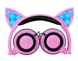 Wholesale Bluetooth Headphones For Laptop Computer - Foldable Flashing Glowing Cute Cat Ear Headphones Gaming Headset Earphone with LED light For PC Laptop Computer Mobile Phone