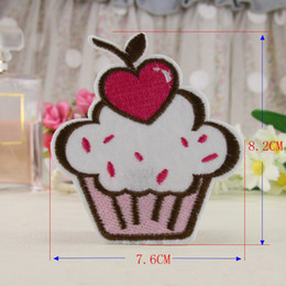 Wholesale Baby Clothes Cupcakes - 10pcs Jacket Patch For Clothing Cherry Cupcake Iron On Patches Baby Jeans parches ropa Embroidered Fabric Patchwork Dress Badge Appliques
