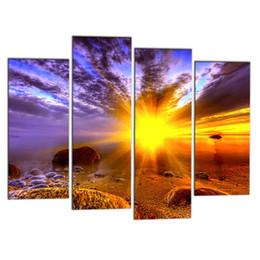 Wholesale custom framed art - Modern Art Wall Decor 4 PCS Painting HD Sunset Seascape Canvas Pictures Custom Canvas Prints for Home Decor