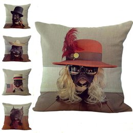 Wholesale Wholesale French Beds - French Bulldog Pillow Case Cushion cover Linen Cotton Throw Pillowcases sofa Bed Pillow covers Drop shipping PW374