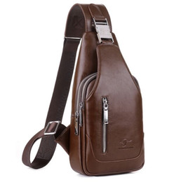 Wholesale Chest Bags For Men - New Brand Men Messenger Bags Business Man Leather Chest Pack Mens One Shoulder Bag for Men Handbags Brown Black Free Shipping