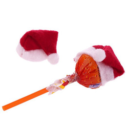 Wholesale Mini Santa Hats - Wholesale-6Pcs Set Christmas Santa Hat cup hat 4.5cm mini santa Cover New Year Xmas Gift Christmas Candy Cover Decoration