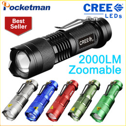 Wholesale Mini Cree Led Flashlight 7w - LED Flashlight Mini Zoomable Torch Led 7W CREE 2000LM Waterproof 3 Modes aa 14500 battery Tactical lanterna flash light