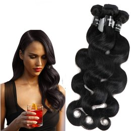 Wholesale cambodian wavy hair - Brazilian Human Hair Weaves Bundles Wefts Unprocessed Peruvian Malaysian Indian Cambodian Virgin Hair Body Wave Wavy Mink Hair Extensions