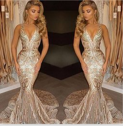 Wholesale African Lace Wears - New African Luxury Gold Mermaid Prom Dresses 2017 V Neck Sexy Prom Gowns Vestidos Pageant Dresses Evening Wear