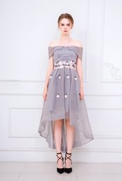Wholesale Embroidery Cocktail Dresses - High Quality Embroidery Hi Lo Sweetheart Evening Party Dress robe de soiree Real Photo Evening Gown