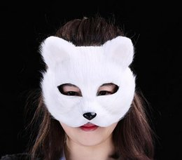 Wholesale Halloween Pvc Props - Masculine masks animal animals men and women half face props toys Halloween fox mask G807
