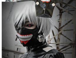 Wholesale Zipper Face Mask - DHL 68*23cm Anime Cosplay Tokyo Ghoul Kaneki Ken Mask Adjustable Zipper Masks PU Leather Mask Helloween