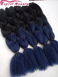 "Wholesale dark blue hair color - New Arrival Dark Blue Ombre Jumbo Braiding Hair Extensions 5packs lot 24"" Synthetic Cabelo Pelo Crochet Box Braids SenegaleseTwist Hair Bulk"