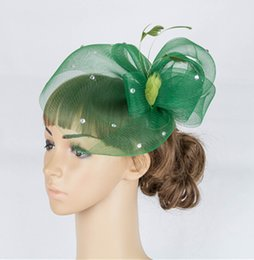 Wholesale Black Feather Fascinator Hat - Free Shipping Handmade DARK GREEN hats for weddings British wedding hats Mesh and feather material Occasion Elegant hats for wedding MYQ048