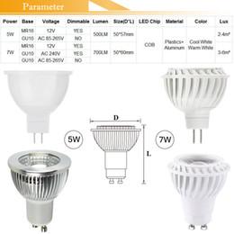 2019 led dimmable mr16 5w COB LED Spot LED Lampe 110V 220V 12V 5W 7W Projecteur GU10 E27 E14 MR16 Dimmable Ampoules Ampoule Réflecteur blanc chaud Cool blanc CE ROSH FCC promotion led dimmable mr16 5w