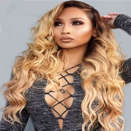 Wholesale Blonde Remy Lace Front Hair - 180% Density Body Wave Ombre Lace Front Wigs Side Part Remy Hair Swiss Lace Blonde #1bT27 Full Lace Wig