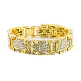 Мужские женские хип-хоп широкий I квадратный крест форма стразы браслет Bling имитация Алмаз цепи ссылка браслеты ювелирные изделия cheap diamond bracelet wide от Поставщики бриллиантовый браслет широкий