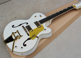 Wholesale Pickguard Gold - White Semi-Hollow Electric Guitar with Gold Hardware,Yellow Pickguard,White Binding,Offer Customized