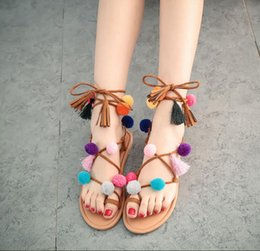 Wholesale Tie Up Balls - Hot sell! 2017 new Bohemian bandage with flower ball pintoe sandals and a simple national style sandal size 35-40